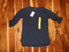 NWT Womens NAUTICA Navy Blue V-Neck Roll Tab Shirt Size S Small