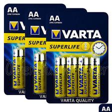 12 x Varta AA batteries SuperLife Zinc Carbon 1.5V LR6 2006 R6P 4 Pack Free ship