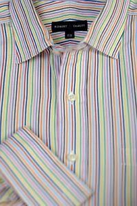 Robert Talbott Men's Colorful Stripe Luxury Cotton Dress Shirt 17 x 35