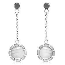 Mother Of Pearl Stainless Steel Drop Dangle Earrings Flower