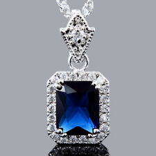 Pendant Emerald Cut Blue Sapphire 18K White Gold Plated Free Necklace Chain
