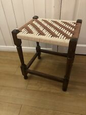 Vintage Small Wooden Rattan Woven Pattern Top Foot Stool