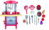 Kids Play Kitchen & Pretend Food Role Set Oven Lights Sound & Accessories 769
