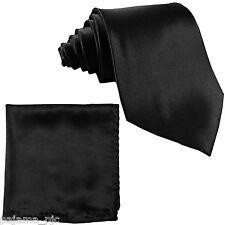 Men's BLACK SELF TIE NECKTIE and Pocket Square Hankie Set FORMAL WEDDING PROM