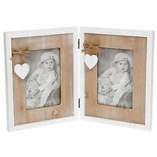 "Provence Heart Double Photo Frame Hinged 23cm High Takes 2 - 4 x 6"" (10 x 15 cm)"