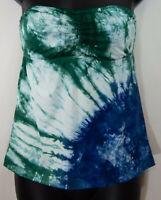 Lucky Brand Tye Dye Tankini Swim Suit Top Size Small Stretch blue green