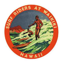 Surf Riders At Waikiki, HI   Vintage-Style Travel Decal