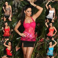 New Sexy Women Clubbing Top Lace Ladies Party Shirt Size 6 8 10 S M Black Blouse