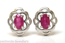 9ct White Gold Ruby Studs Earrings Made in UK Gift Boxed