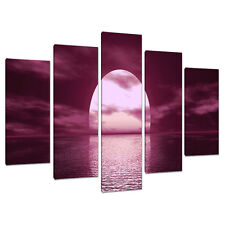 5 Part Plum Canvas Pictures Wall Art UK Living Room Sunset Prints 5004