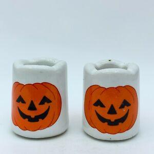 Vintage Jack-o-lantern Happy Pumpkin Ceramic Vigil Candle Holders Set of 2