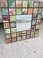 Antique ONE OF A KIND Patchwork Quilt VEGETABLE Mirror Wall Art UNIQUE 28/40❤️j8