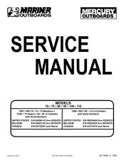 MERCURY OUTBOARD 135 150 175 200 225 SERVICE MANUAL REPRINTED COMB BOUND 1997ED