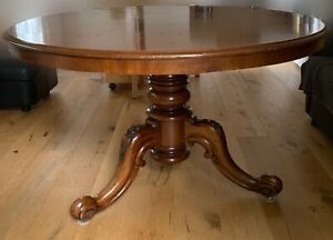 Antique Victorian mahogany round table and 6 chairs