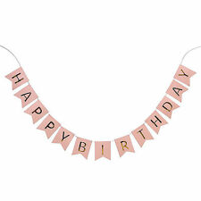 Pastel Pink Happy Birthday Bunting Garland Gold Letters Party Hanging Banner fb