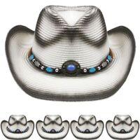 NEW HIGH QUALITY COWBOY Western HAT WHITE Cowgirl Raffia Rodeo MEN WOMEN
