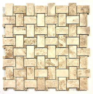 Cappucino Beige w/ Beige Marble Dot Basketweave (1.2 Square-foot) Floor Tile