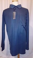 NWT Eccolo Moda Blue Striped Polo Mens Shirt Chest Pocket Long Sleeve Size 4XLT