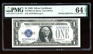 DBR 1928 $1 Silver Fr. 1600 AA Block PMG 64 EPQ Serial A17878675A