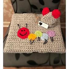 Hand crochet baby caterpillar blanket & hat set /carseat/pram/cribbaby shower