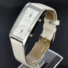 Two Time Zone Dial White Womens SOKI Analog Quartz Ladies Leather Band Watch