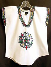 Ethiopia African Embroidered White Ethnic Top Blouse X-Small Youth 2XS - XS? New