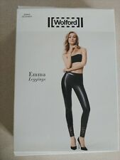 Wolford Black Faux Leather Emma Leggings With Lace Trim NIB $425 Size 36