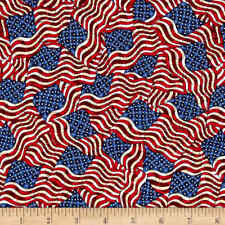 Jim Shore Patriotic Flags packed 100% Cotton Fabric by the yard