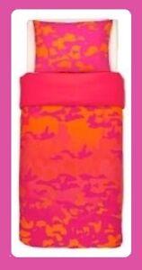 IKEA GIltig TWIN Duvet Cover DORM Set Pillowcase NEW Hot Pink Orange Camo Sunset