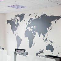 Black Large World Map Removable Wall Sticker For Home Office Art Craft Decor
