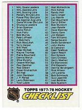 1977-78 TOPPS HOCKEY #68 CHECKLIST 1-132 - EX/EX+