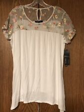RELATIVITY White Floral Sheer Mesh Blouse Tunic Top Women's Size L NEW