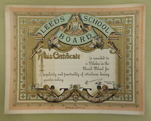 LEEDS SCHOOL BOARD ANTIQUE LITHOGRAPH CERTIFICATE YORKSHIRE 19TH CENT EDUCATION