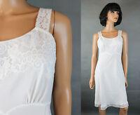 Vintage 60s Slip Sz 34 M White Rayon Nylon Crepe Bias Cut Lace Trim Back Magic