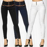 Damen Jeans High Waist Stretch Hose Hochbund Röhrenjeans Skinny Corsage Röhre