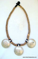 vintage antique ethnic tribal old silver disk pendant necklace rajasthan india