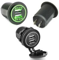 Dual USB Ladegerät Einbaubuchse Auto Steckdose KFZ Adapter 12V 24V grün 4,2 A
