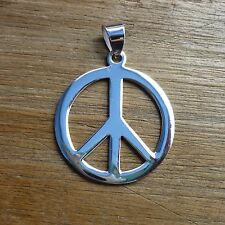NEW 925 Sterling Silver Peace Sign Symbol Charm Necklace Pendants 25 mm width