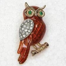 crystal austrian brown rhinestone enamel  owl brooch.gift boxed.