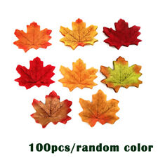 100 Pieces Artificial Autumn Maple Leaves Mixed Colored Maple Leaf  8CM*6CM