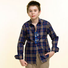 Celino Boy's Long Sleeve Tops Checkered Dress Shirts for Casual Made in Europe