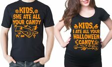 Funny Halloween Maternity Couple shirts Pregnancy Tee Shirt I ate all Candy