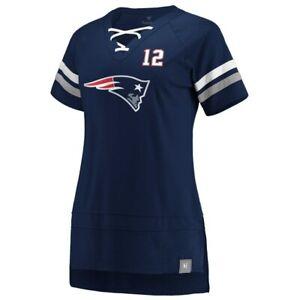 Tom Brady New England Patriots Fanatics Branded Women's Lace Up T-Shirt NWT Blue