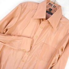 Vintage 70s Dusty Rose Mens Dress Shirt 15 M Careso Nylon Swishy Pink disco