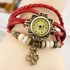 Reloj Pulsera Reino Unido Ladies Aspecto de Cuero Multicapa trébol encanto vintage rojo 8015