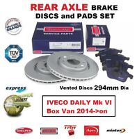FOR IVECO DAILY Mk VI Box Van 2014->on REAR AXLE BRAKE PADS + DISCS SET (294mm)