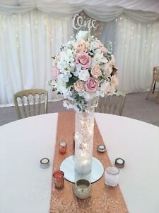Blush, Ivory And Champagne Wedding Centrepiece Table Flowers Arrangement Tall