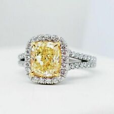 3 Ct Cushion Cut Canary Yellow Synt Diamond Solitaire Ring White Gold Fns Silver