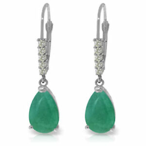 Natural Emerald Gemstones & Diamonds Dangles Leverbacks Earrings 14K. Solid Gold