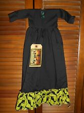 PRIMITIVE WALL DRESS HALLOWEEN BLACK WITCH Lime Black Cat,Grungy,Decor, Cupboard